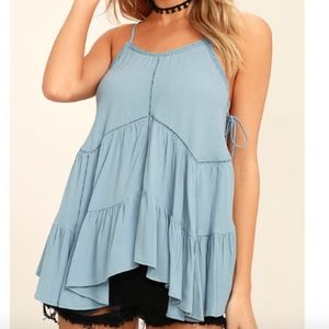 Lulu's Breathe Easily Light Blue Lace Up Top, XL